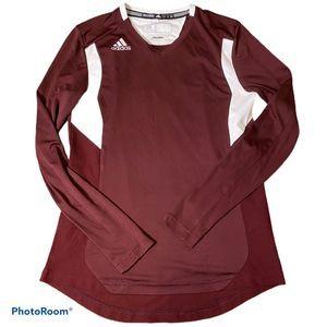Adidas Long sleeve v neck athletic top burgundy S